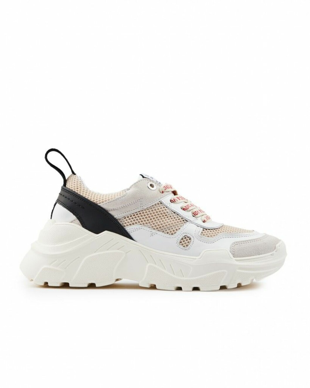 Vita sneakers med detaljer i svart, rosa och beige.