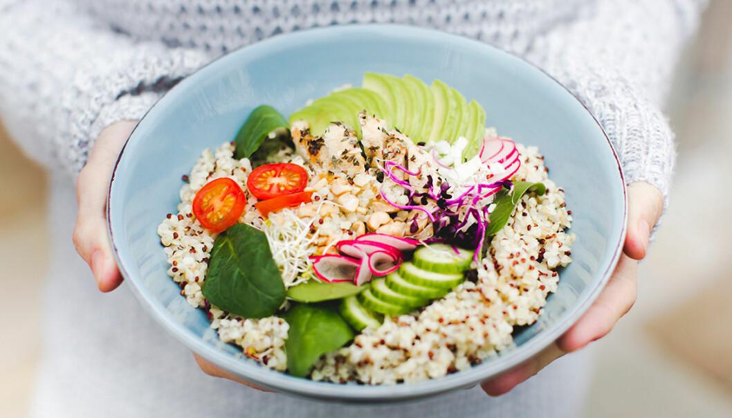 Nyttig bowl med quinoa, kyckling och avokado.