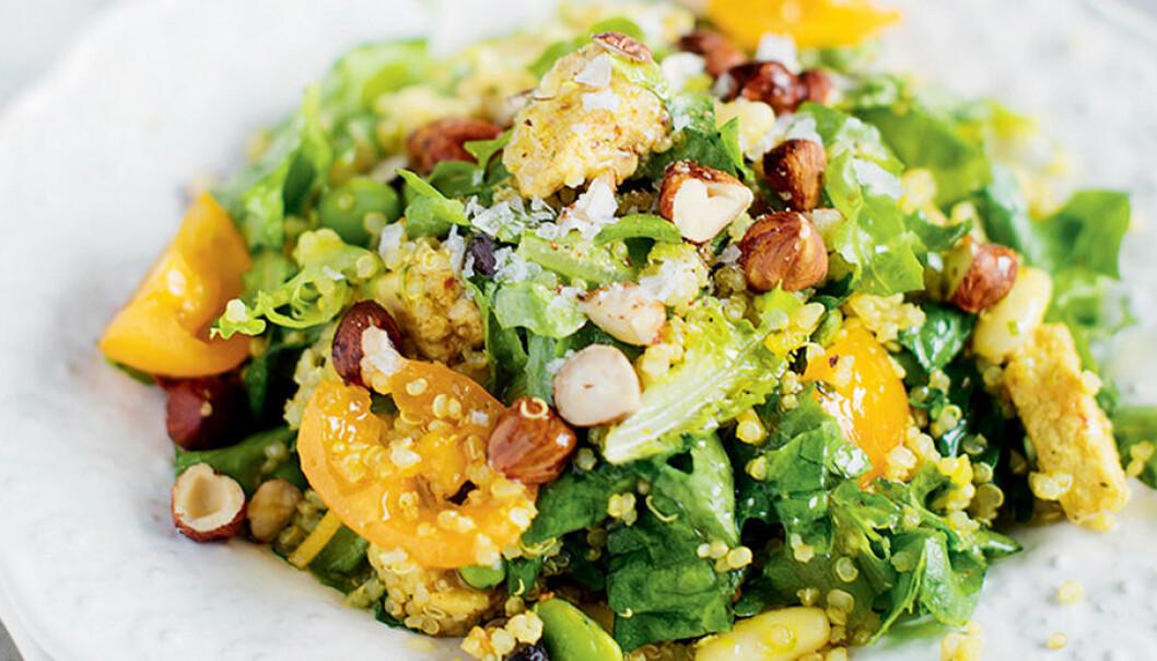 Quinoa- och quornsallad med bönor och nötter.