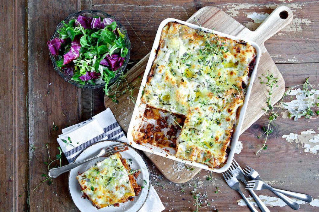 Supersnabb vegetarisk lasagne med Quorn.