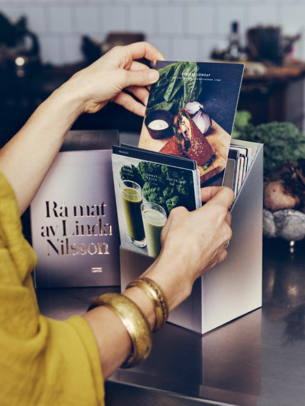"""Receptkort från boken """"Rå mat"""" av Linda Nilsson."""