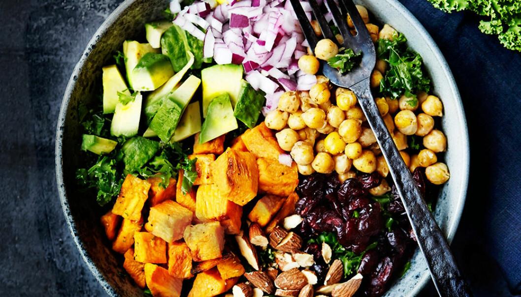 Rainbow bowl med kikärtor, sötpotatis och grönkål.
