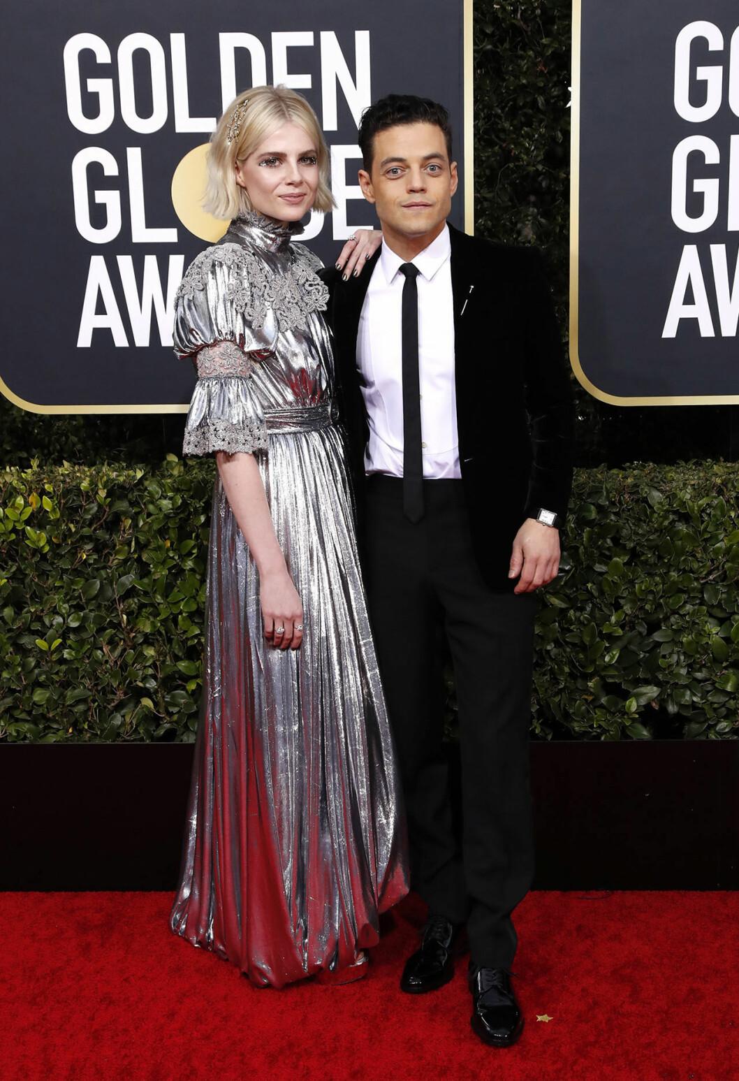 Lucy Boynton och Rami Malek på Golden Globes.