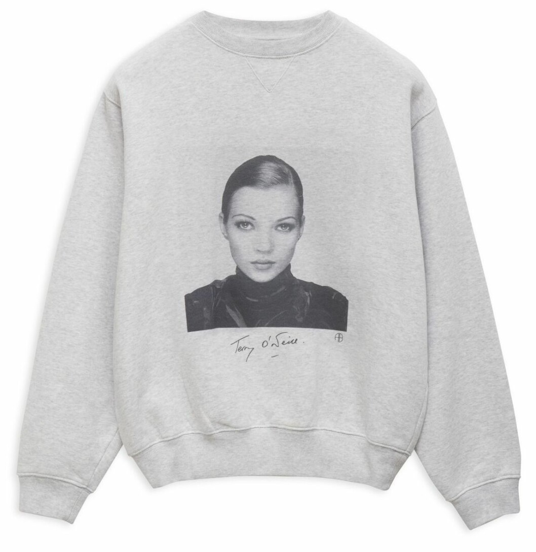 Grå sweatshirt med Kate Moss från ANINE BING x Terry O'Neill