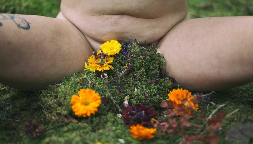 Naken kropp med mossa och blommor för snippan