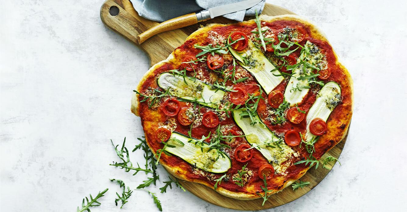 Recept på vårig vegopizza