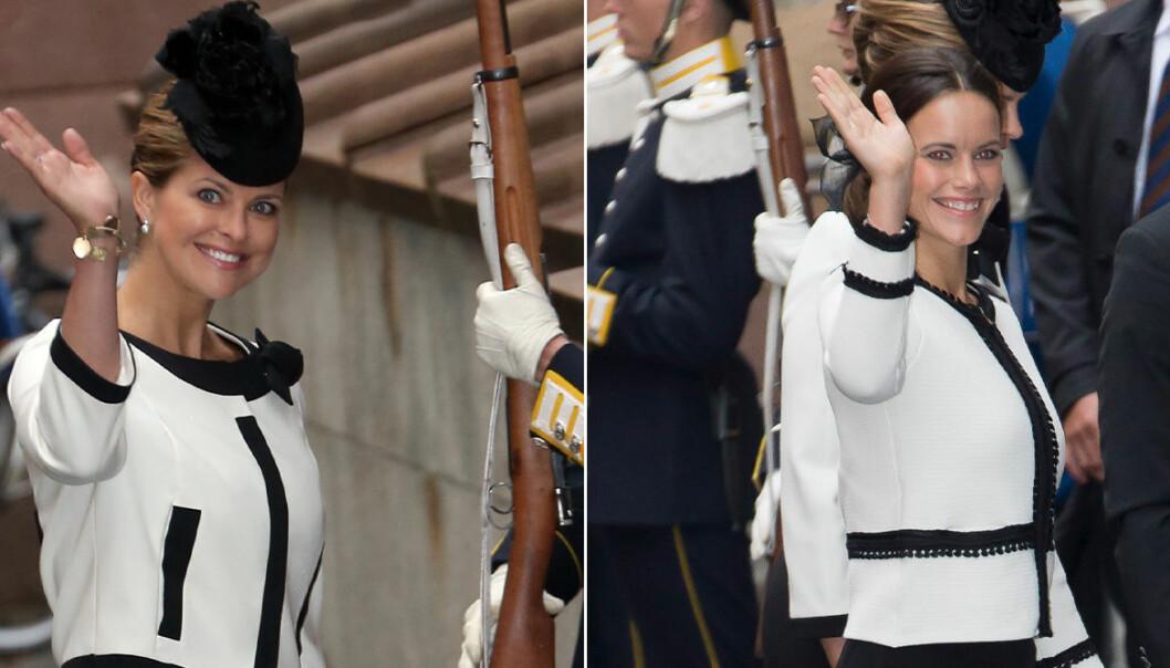 Sofia och Madeleine i likadana jackor