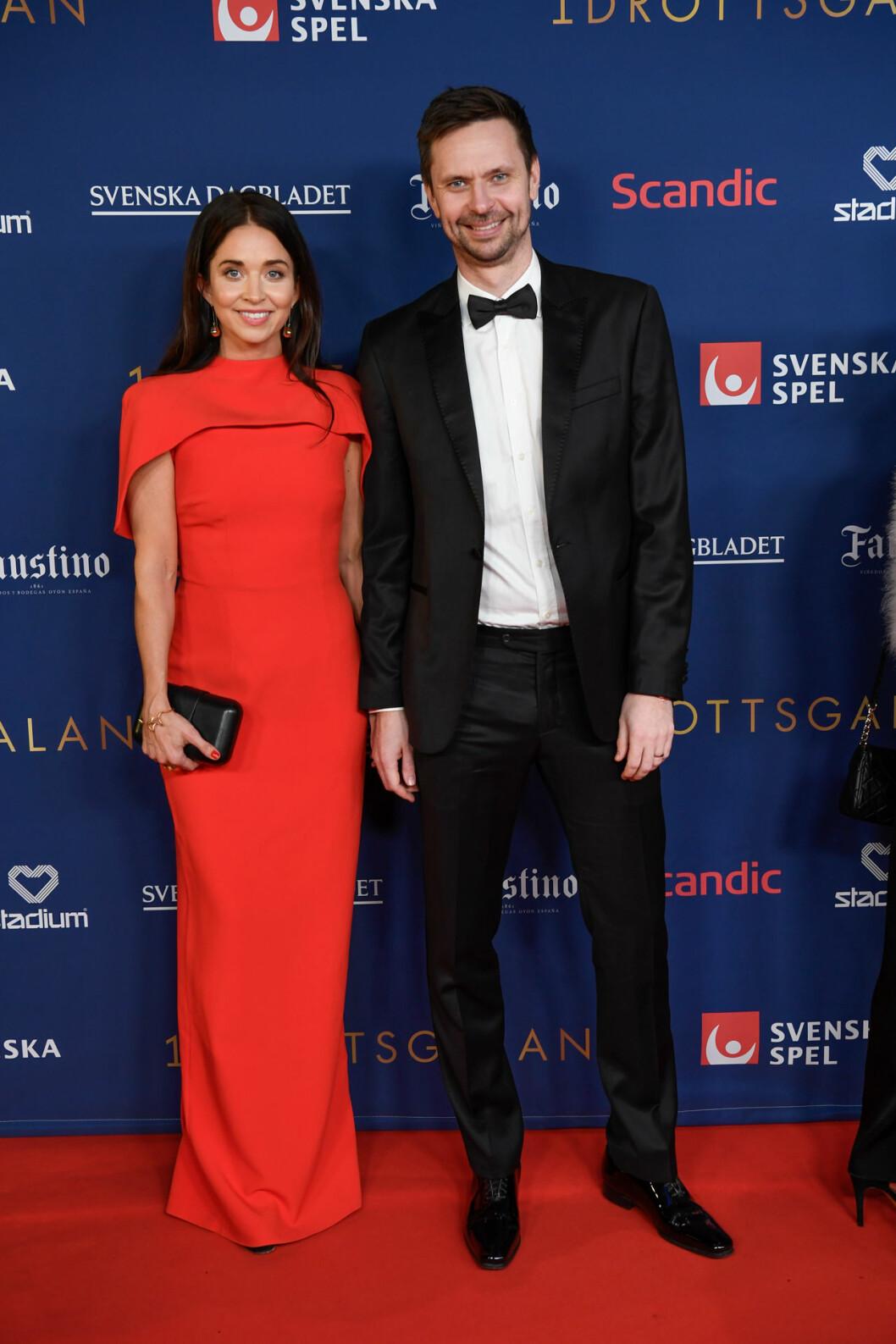 Robin Söderling och Jenni Moström på röda mattan på Idrottsgalan 2020