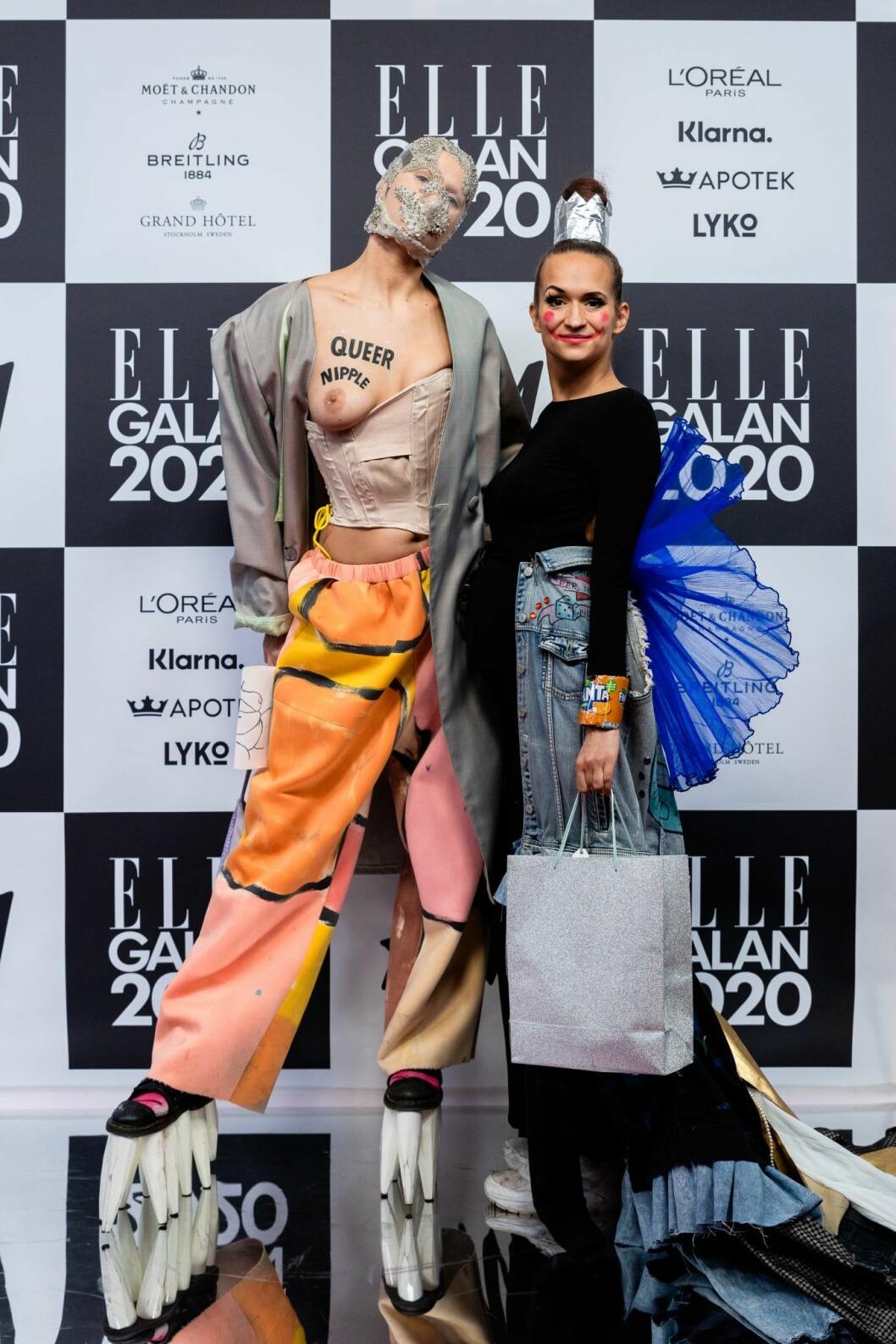 Leffe Crumlove och Bianca Kronlof på elle-galan röda-mattan 2020