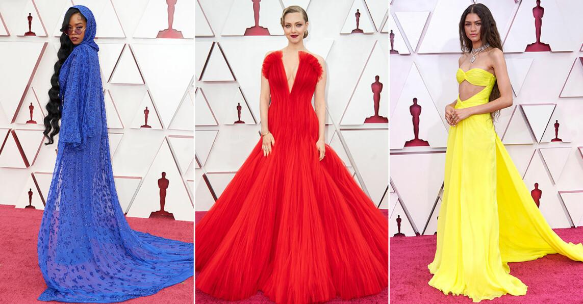 Tre bilder från röda mattan på Oscarsgalan 2021