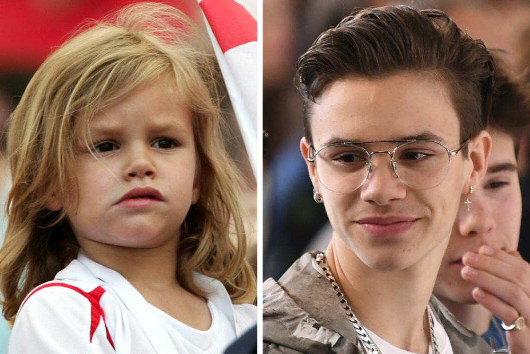 Romeo Beckham som liten och som vuxen