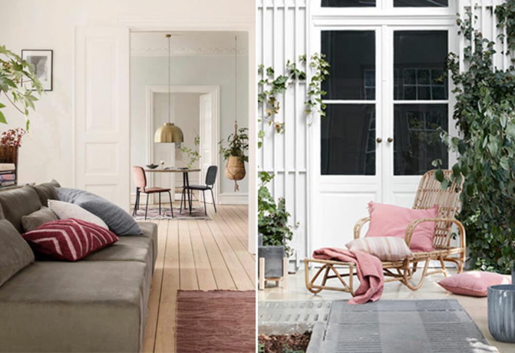 Rosa inredningsdetaljer, som kuddar och textilier, hos House Doctor och Broste Copenhagen