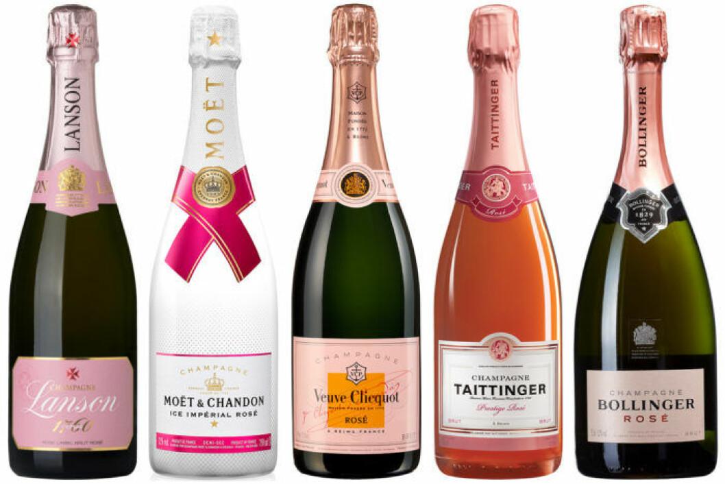 5 flaskor roséchampagne till mors dag.