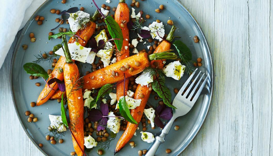 Recept på paprikarostade morötter med linser