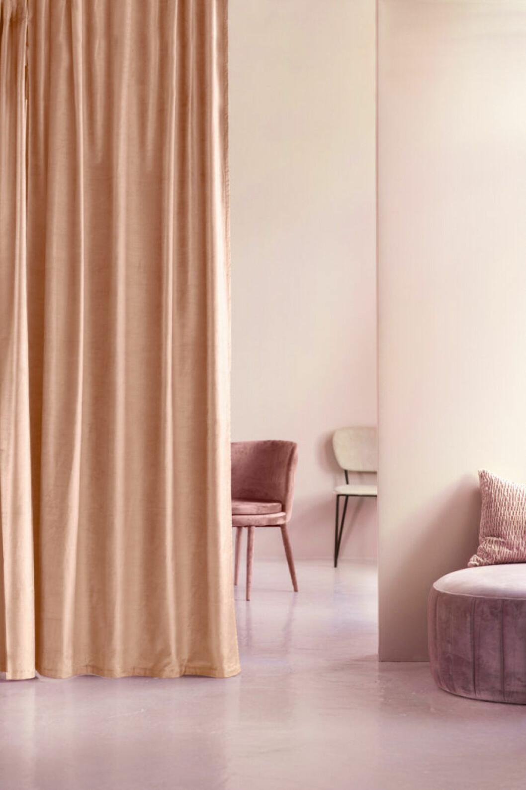 Ett draperi som rumsavdelare