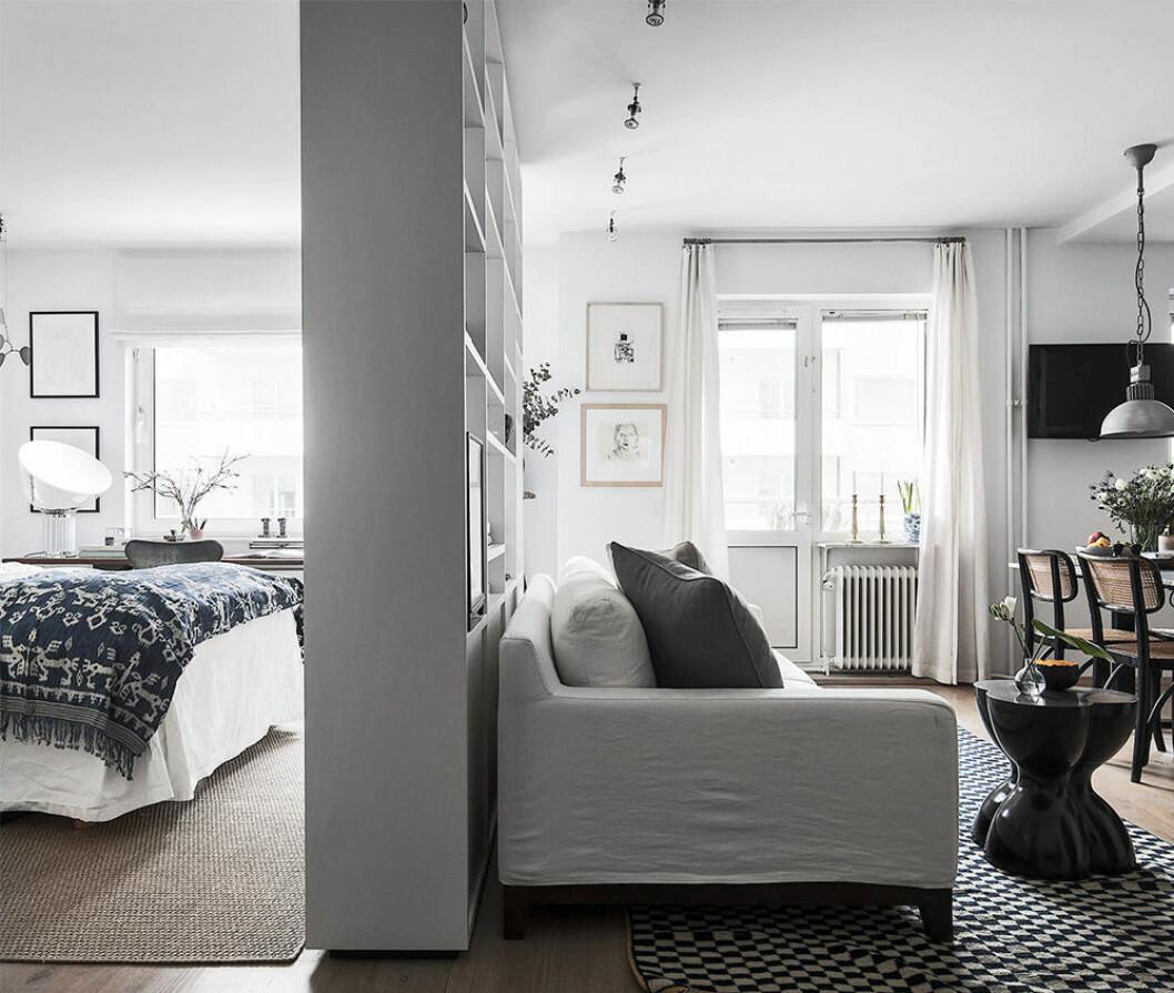 Skapa rum i rummet med en bokhylla som delar av