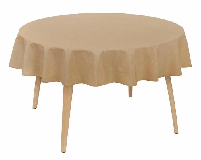 brun rund duk till rund bord