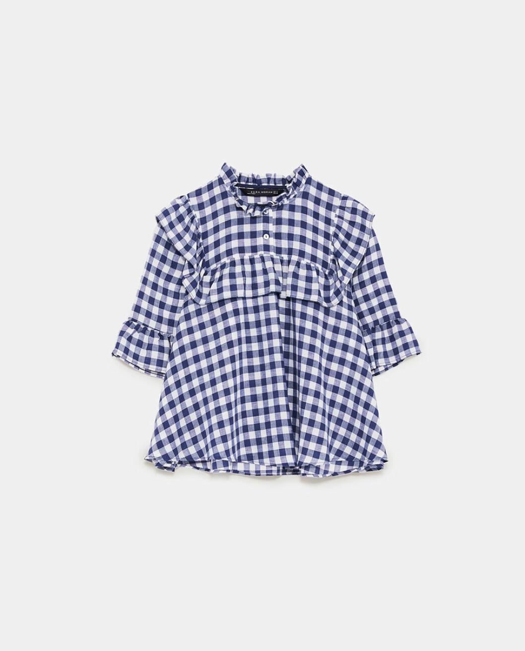 Rutig blus från Zara.