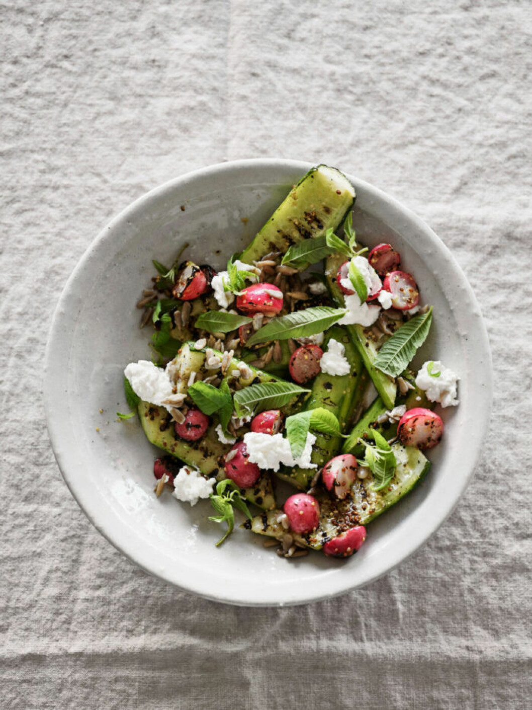 Recept på sallad med grillad gurka och rädisor