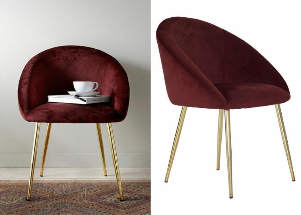 vinröd stol i sammet och mässing