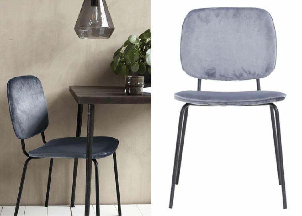 stol i grå sammet från house doctor