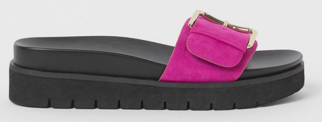 Platåsandaler med rosa spänne från H&M