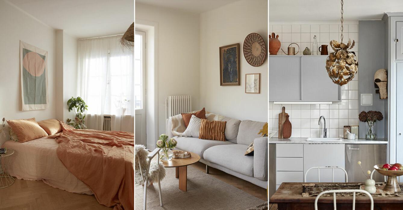 Sarah Memel Törnebäck hemma hos Stockholm vardagsrum sovrum kök