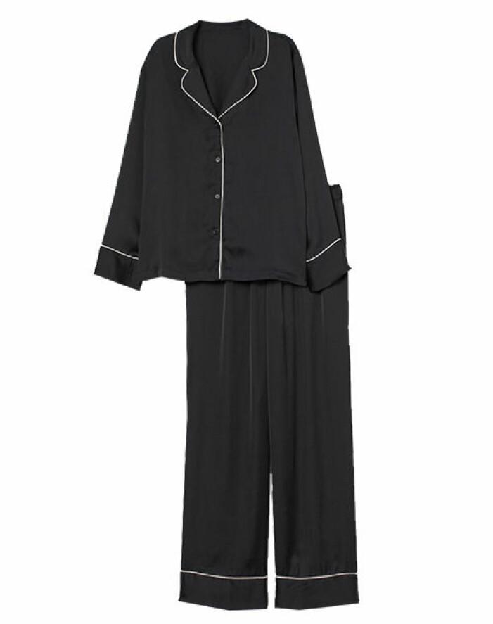 satin pyjamas svart hm