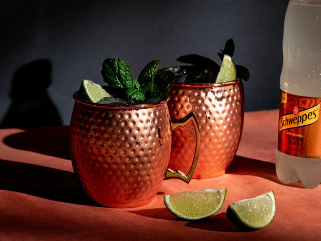Mocktail Mule (alkoholfri Moscow Mule).