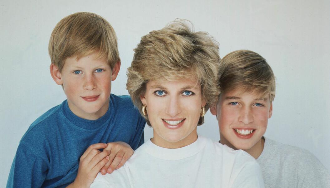 Harry, prinsessan Diana prins William 1995