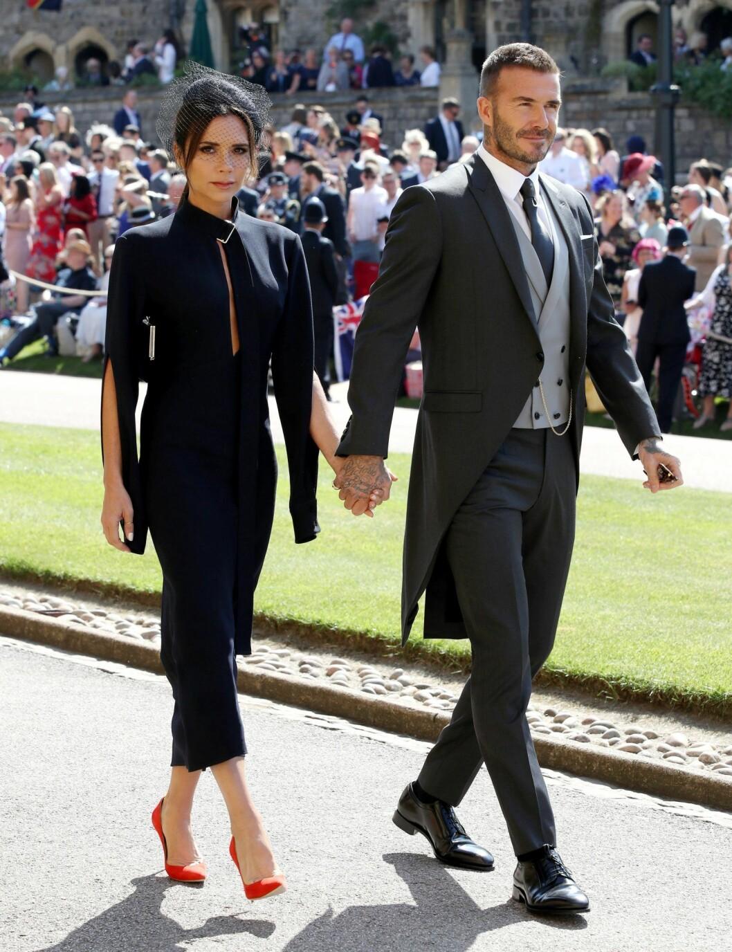 Victoria Beckham & David Beckham på Prins Harry och Meghan Markles pre-ceremony weeding i Windsor, Storbritanien, 2018.