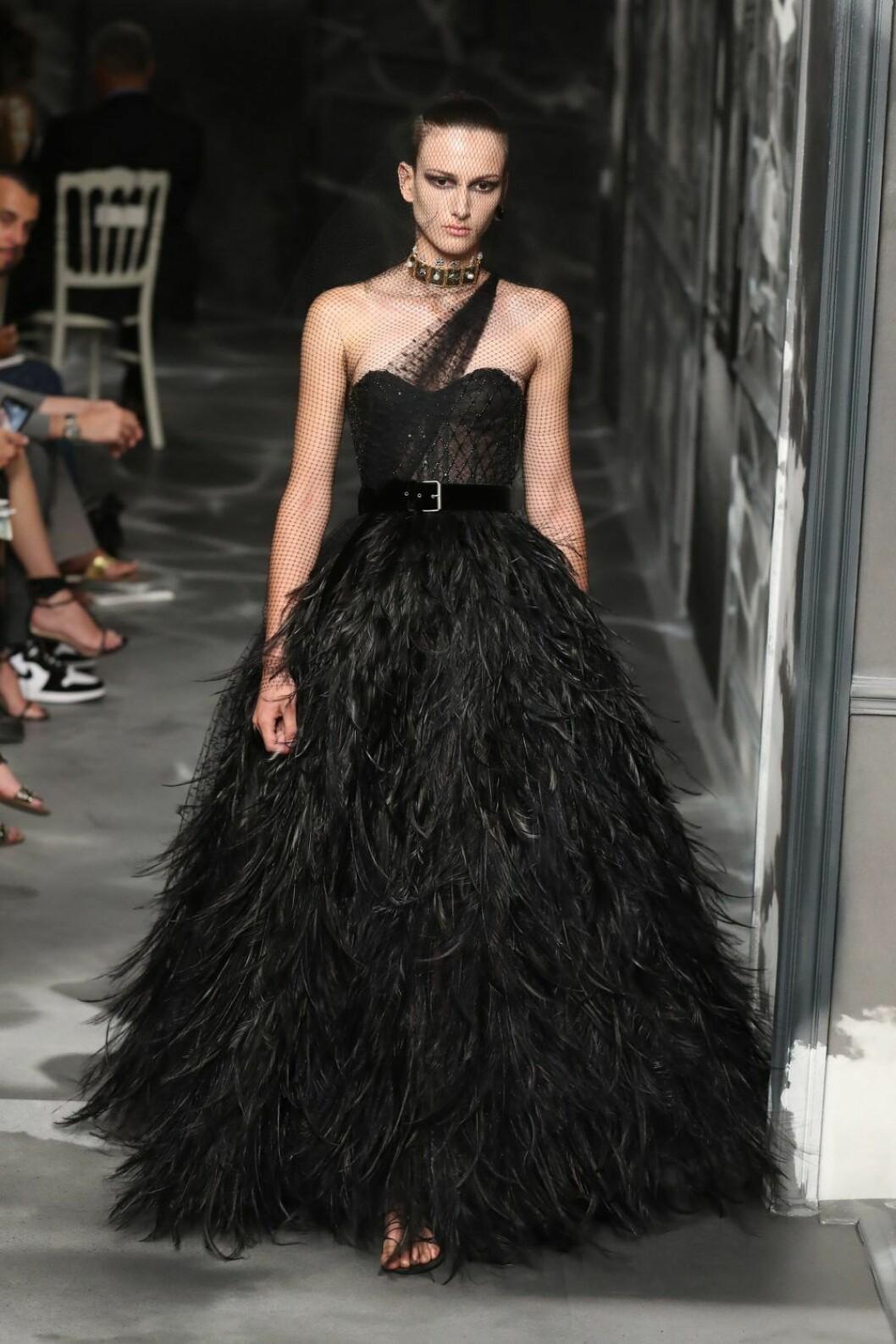 Christian Dior AW19/20, svart klänning med fjädrar.