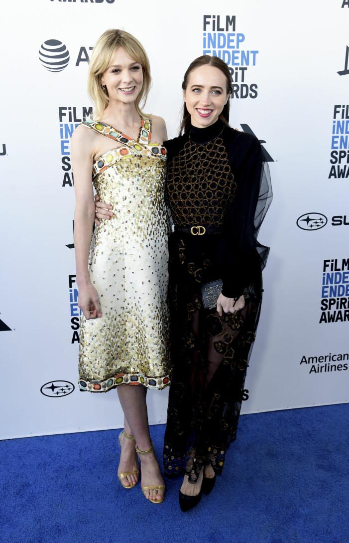Santa Monica 2019-02-23Carey Mulligan, left, and Zoe Kazan arrive at the 34th Film Independent Spirit Awards on Saturday, Feb. 23, 2019, in Santa Monica, Calif.