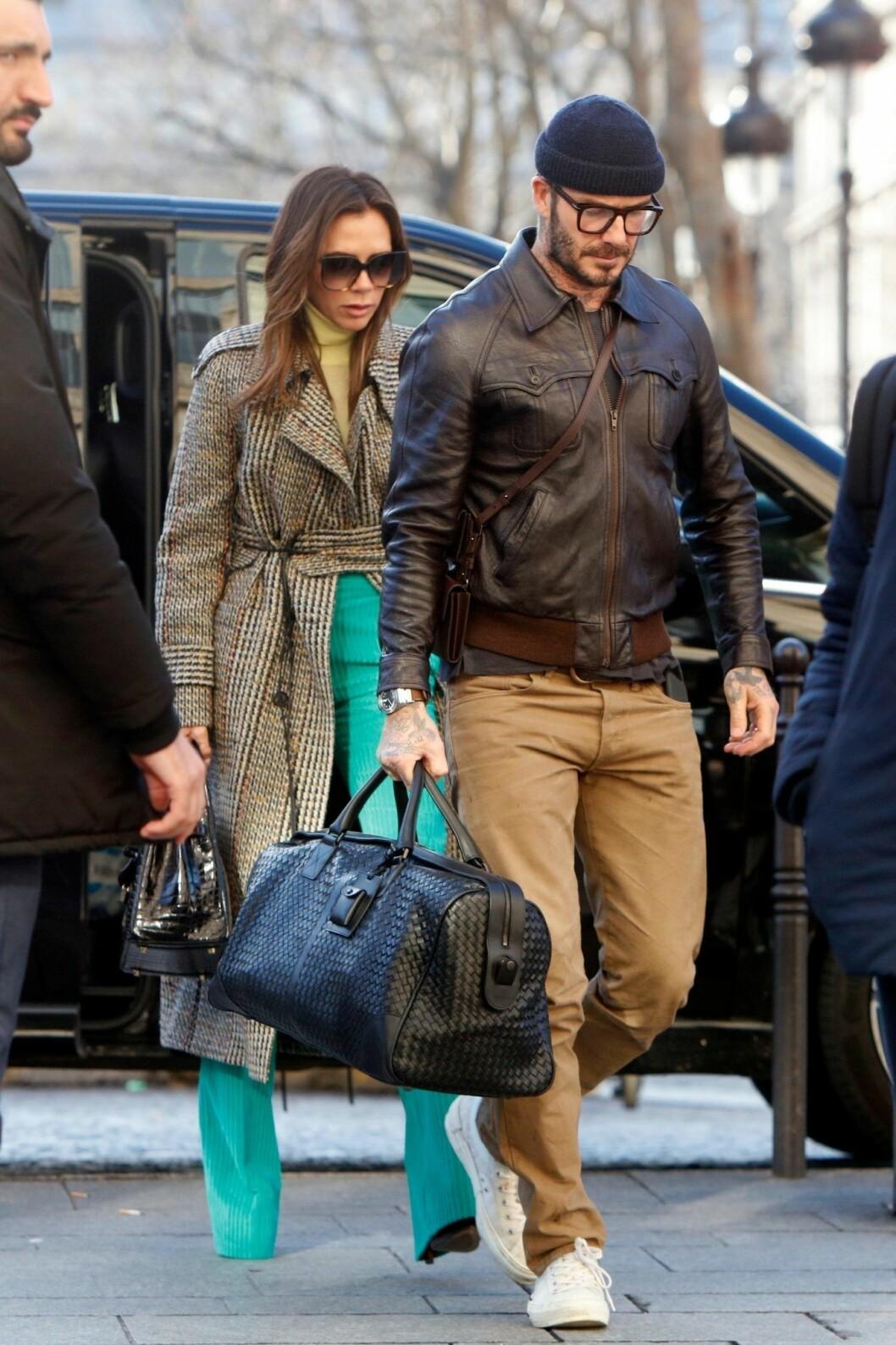 Victoria Beckham & David Beckham Paris Fashion Week