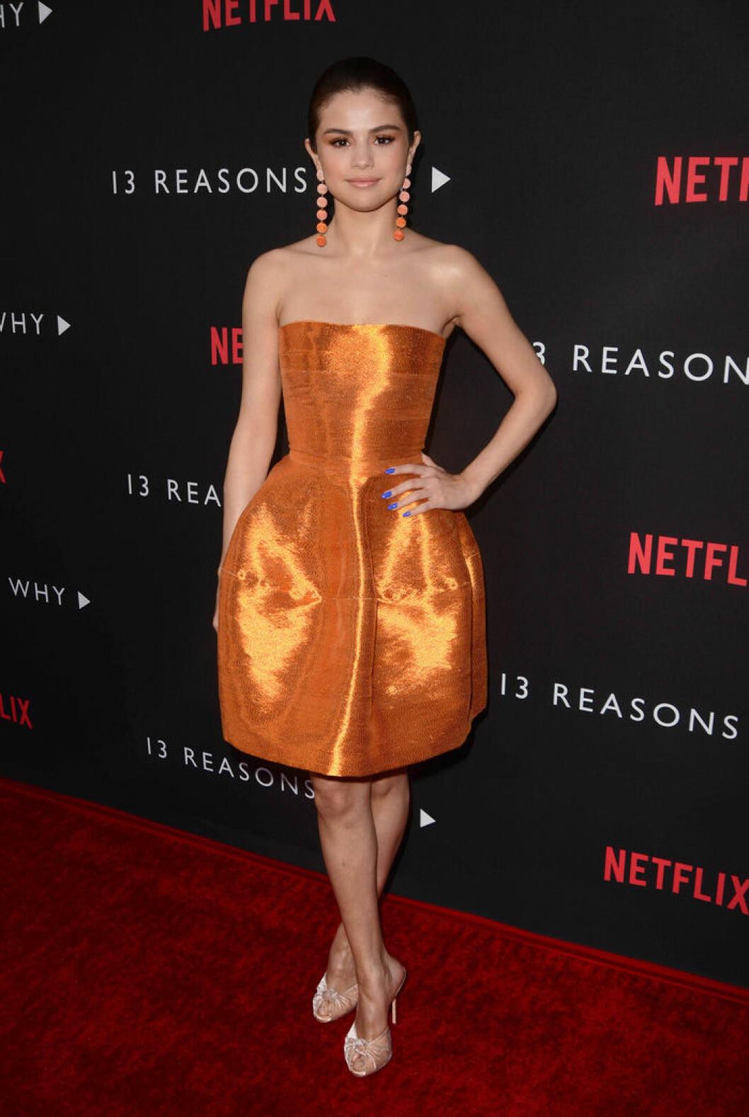 En bild på sångerskan Selena Gomez på premiären för 13 Reasons Why 2017.