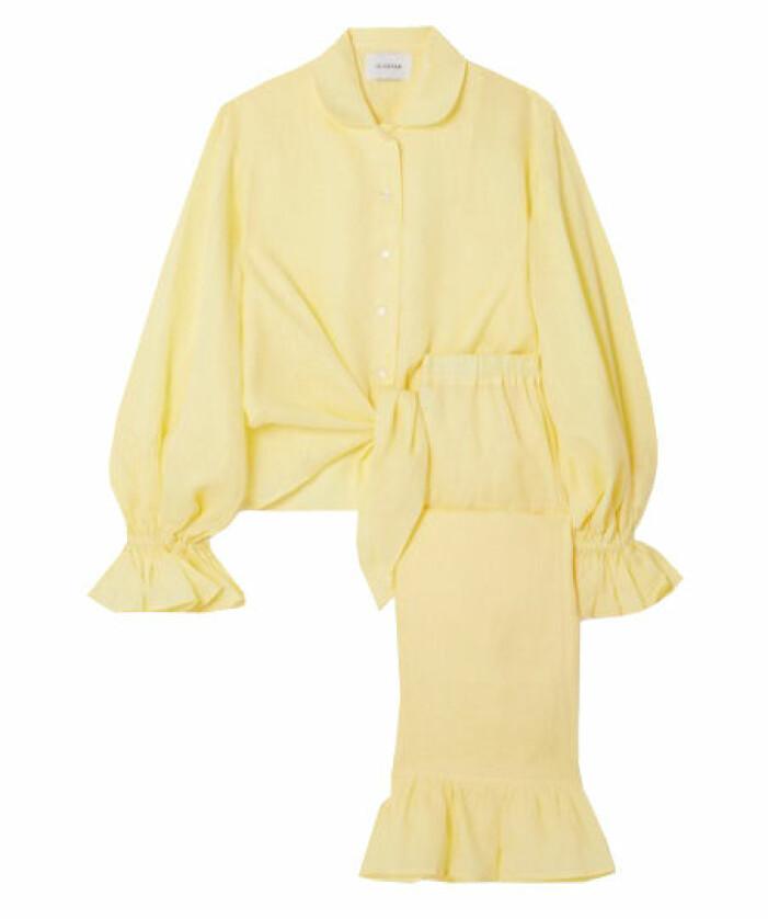 gult set med skjorta och byxor dam