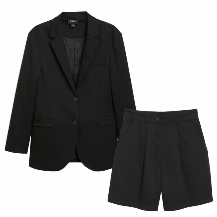 set med svarta shorts och svart kavaj från monki