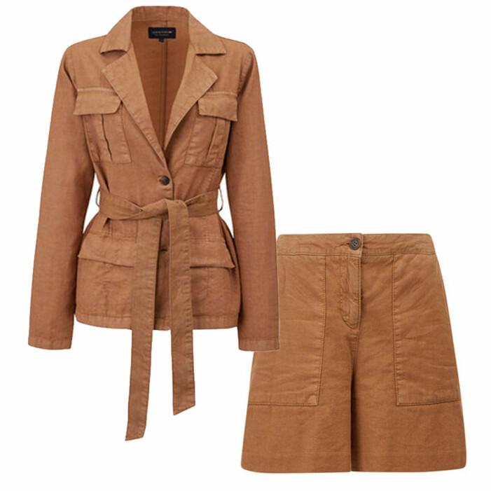 set med jacka och shorts i linne från lexington