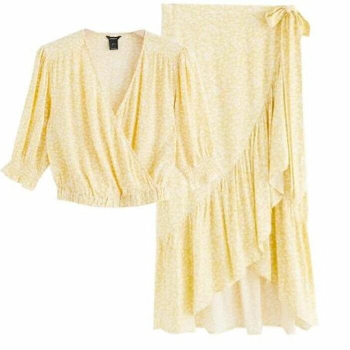gult set med topp och kjol dam