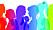 Illustration med kvinnoprofiler i glada färger.