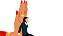 Illustration som visar en stor tecknad hand som stoppar en karriärsklädd kvinna.