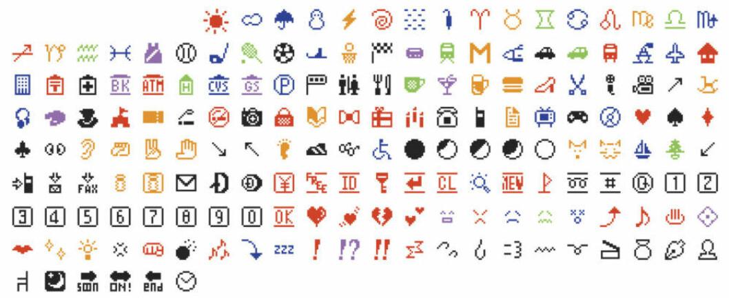 Shigetaka Kuritas första 176 emojis, som lanserades i slutet av 1990-talet.