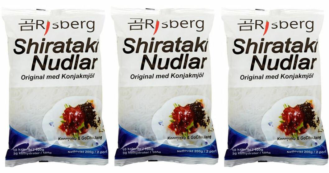 Shiratakinudlar med konjakmjöl från Risberg.