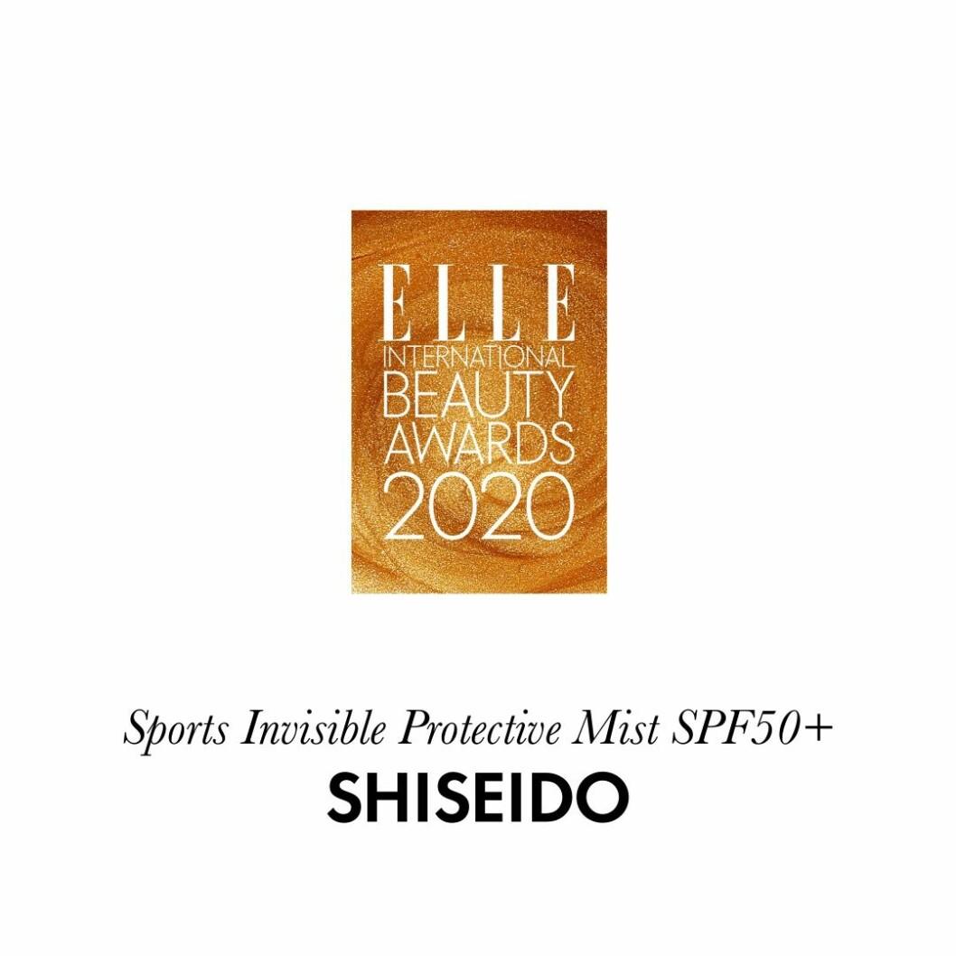 Årets solskydd Sports invisible protective mist spf 50+ från Shiseido.
