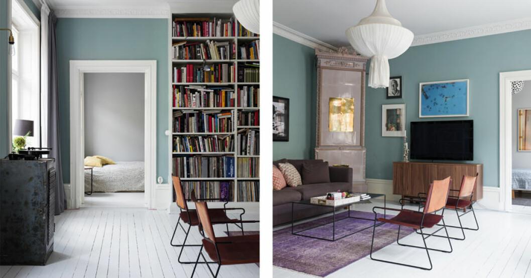 Vardagsrummet med vita golv och färgglada väggar.