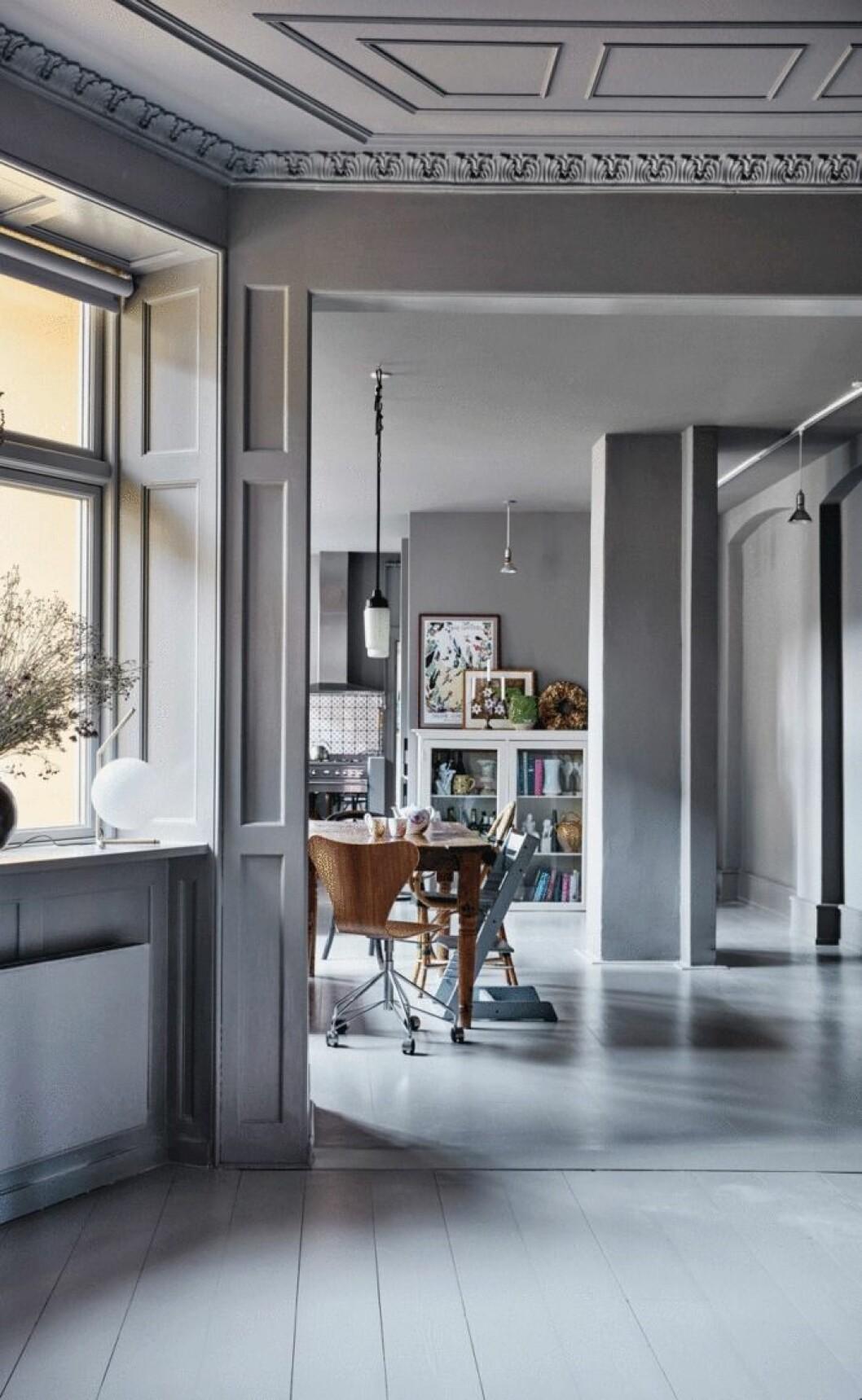 Vackert hem i grått med stukatur