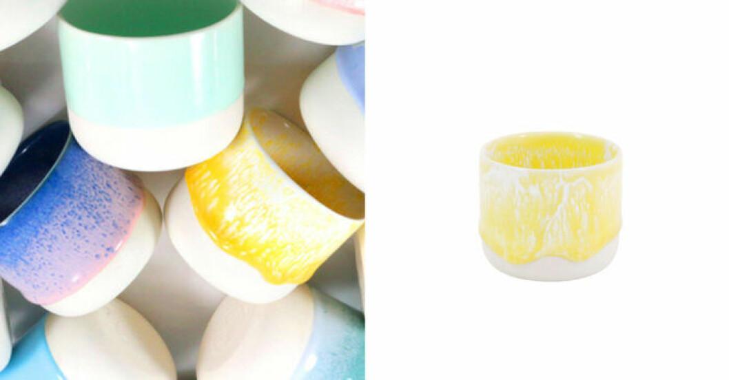 Sip cup i färgen sunbeam från Studio Arhoj – fungerar som både kopp och liten kruka