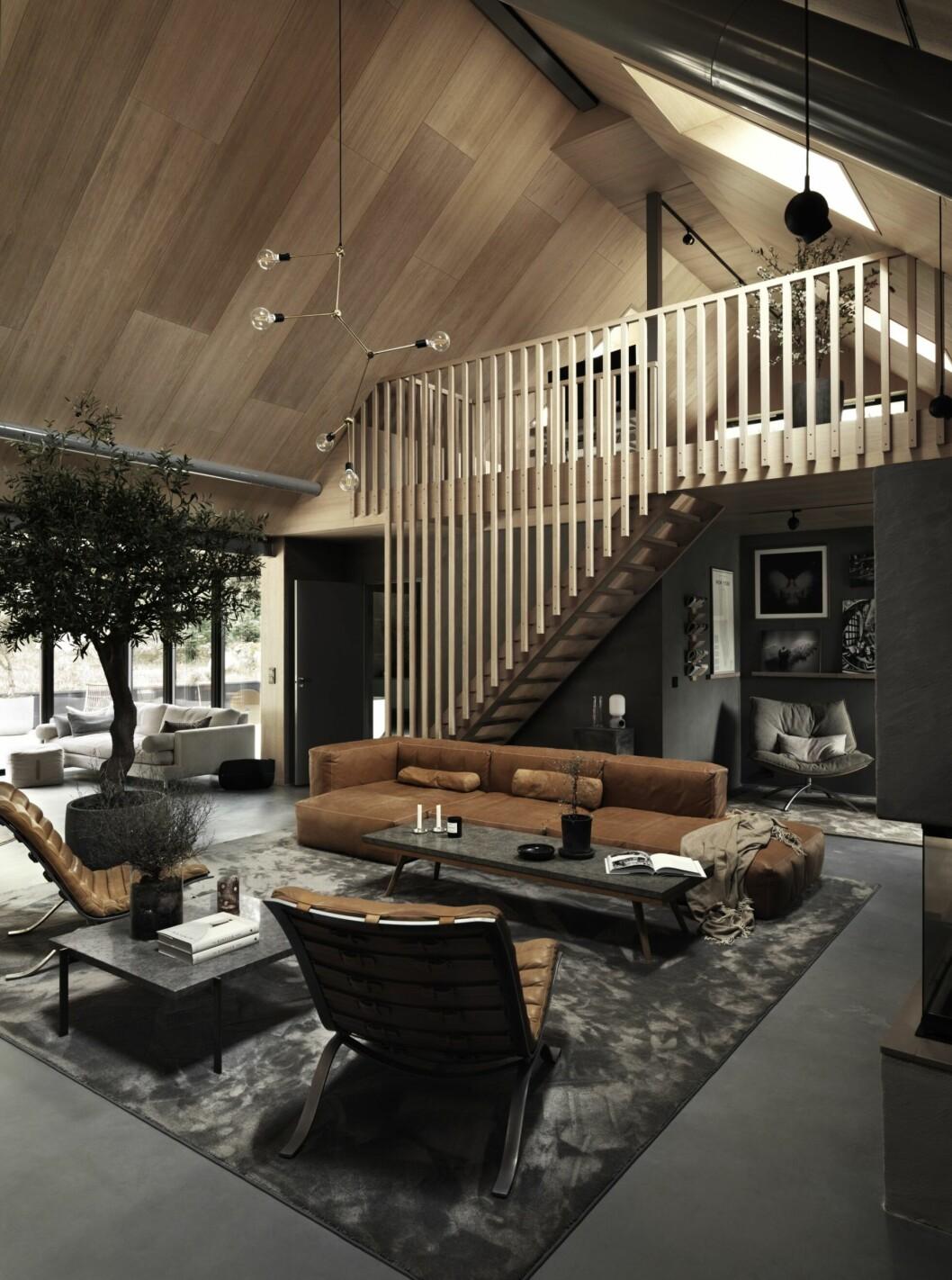 Vardagsrummet med brun soffa, grå matta och fåtöljer i brunt