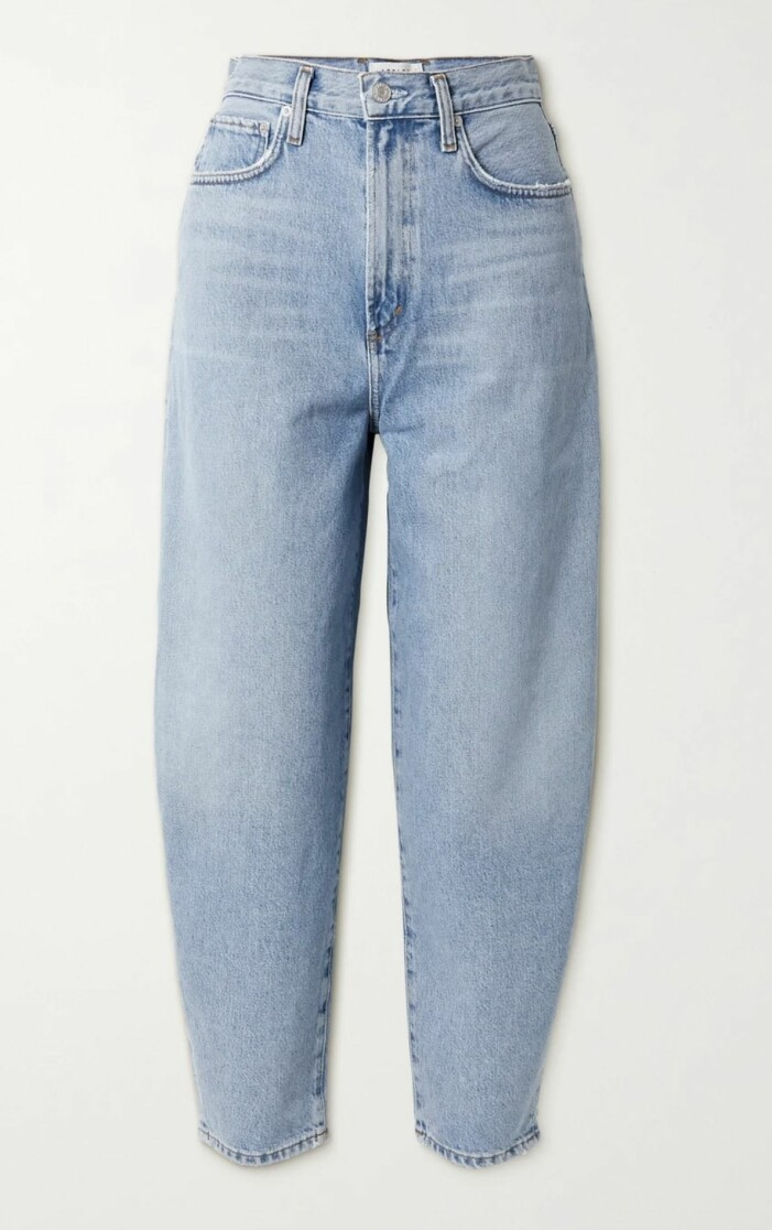 Högmidjade jeans i ljusblått