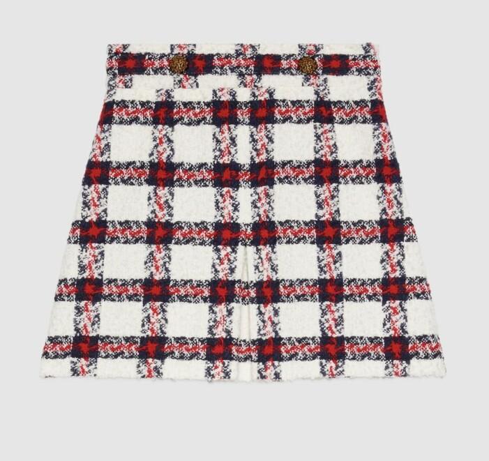 Tweedkjol från Gucci i rött svart och vit med guldknappar